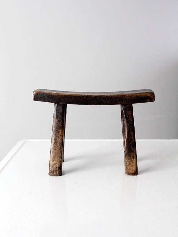 This Is An Antique Chinese Stool The Low Wooden Stool Features A
