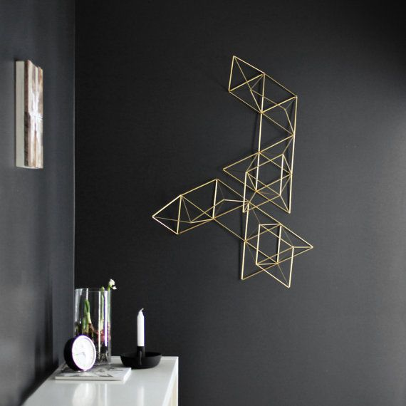 Large Brass Himmeli Wreath / Modern Geometric Wall by HRUSKAA