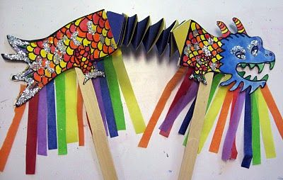 kids craft directory: Chinese Dragon Puppets