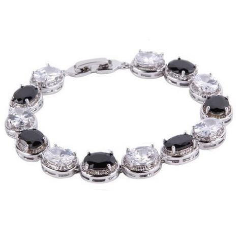 Adrianna Black & Clear Crystal Oval Bracelet