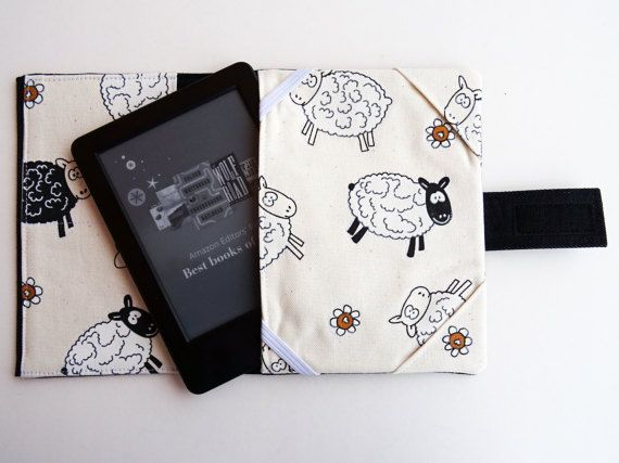 Kindle sleeve Sheeps fabric Kindle Paperwhite denim by HandmadeNel