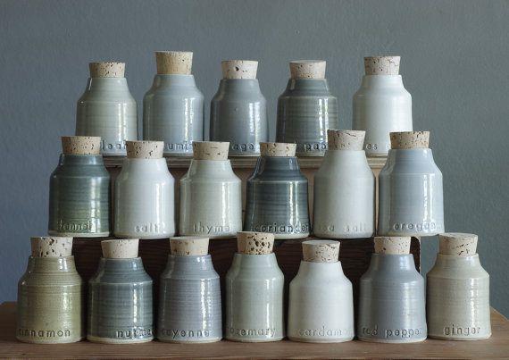 18 pc. custom spice bottle set small pottery by vitrifiedstudio, $450.00