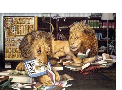 'Lazy Lions' signed limited edition print by Graeme Base, from his picture book 'Animalia'. Available from Books Illustrated. http://www.booksillustrated.com.au/bi_prints_indiv.php?id=6