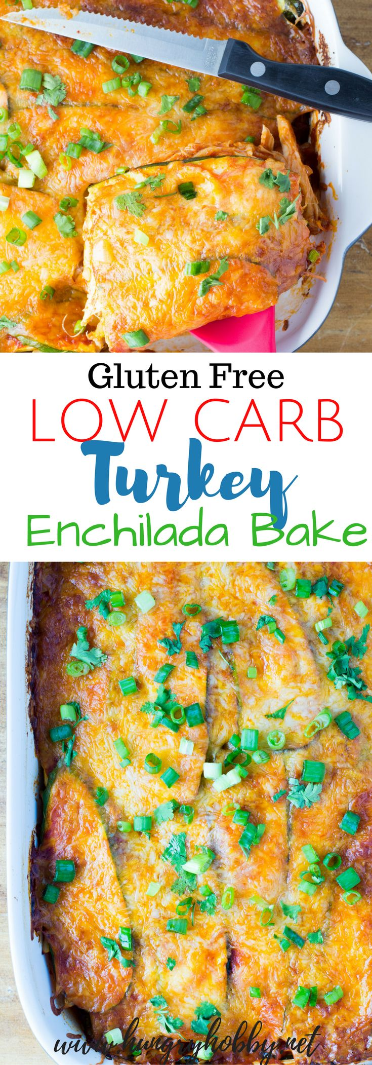 This Low Carb Turkey Enchilada Casserole uses zucchini noodles instead of tortillas for a veggie-packed win, fewer carbs, and all the enchilada flavor! via @hungryhobby