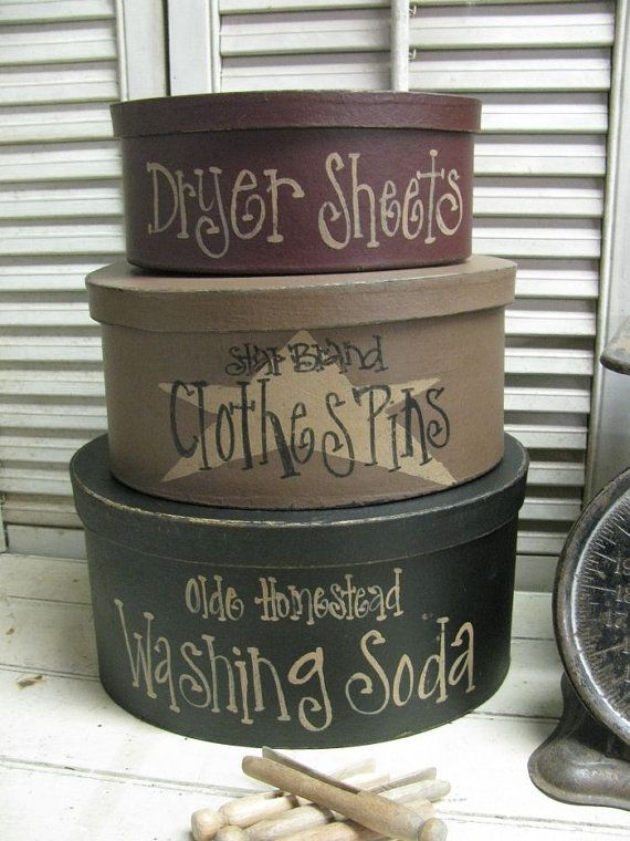 Primitive Set of 3 Oval Laundry Room Stacking Boxes GCC5099 on Etsy, $29.99