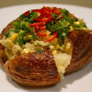 NO mayonnaise Fast/Quick oven baked Jacket potato with avocado and tuna with crisp skin recipe