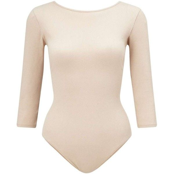 Miss Selfridge Beige Tie Back Body ($49) ❤ liked on Polyvore featuring tops, coffee cream, cream long sleeve top, cream chiffon top, miss selfridge tops, tie back top and long sleeve tops