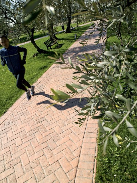 #concrete public park path - run away http://www.idealwork.com/Stamped-concrete-Features-and-benefits.html