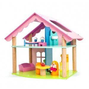 ΚΟΥΚΛΟΣΠΙΤΟ ΜΕ ΕΠΙΠΛΩΣΗ Το κουκλόσπιτο της εταιρίας Le Toy Van αποτελείται από δύο ορόφους. Ο δεύτερος όροφος αποτελείται από το μπάνιο και ένα υπνοδωμάτιο και το ισόγειο από το σαλόνι. Το κουκλόσπιτο είναι ειδικά σχεδιασμένο ώστε να υπάρχουν ανοίγματα σε όλες τις πλευρές του για πιο άνετο παιχνίδι. Από μασίφ ξύλο καουτσουκόδεντρου, με μη τοξικά χρώματα και οικολογικά λούστρα. Το σετ περιλαμβάνει μια φιγούρα Budkin και 14 επιπλάκια (νεροχύτη, τουαλέτα, κρεβάτι, δύο κομοδίνα, δυο φωτιστικά…