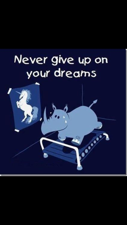 Unless you're a rhino who wants to be a unicorn. That's not giving up, that's refusing to bend to the pressure the media puts on rhinos to be more mythical.