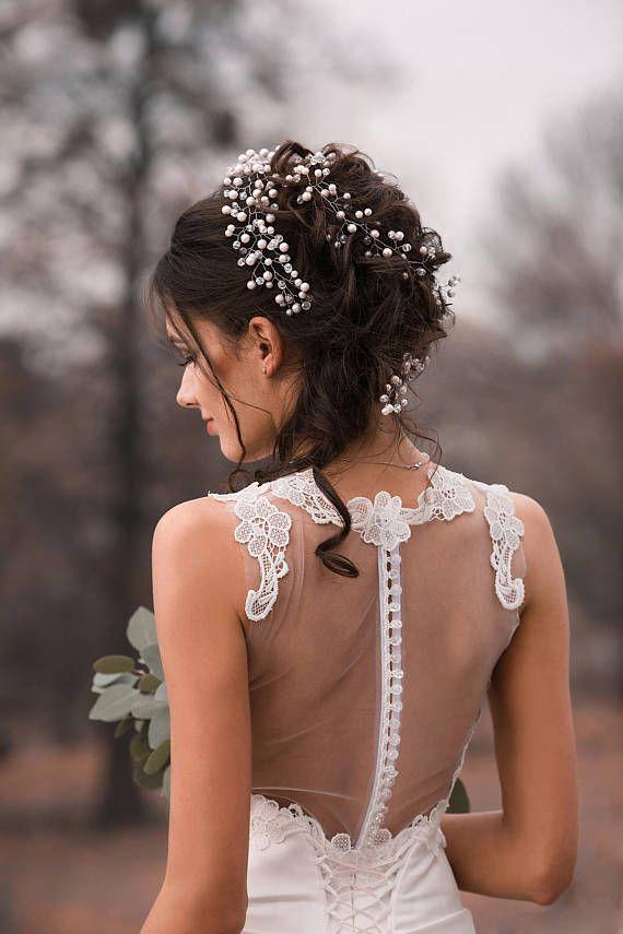 Pearl Hair Vine Silver Bridal Hair Vine Wedding Hair
