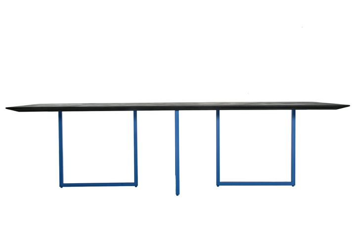 Gazelle by Park Associati Table and writing desk Painted tubular steel structure, available in four different colors: black, white, red and blue. Top available in two different materials: cement (out) and mdf (in) top th.40 mm. anthracite gray on the upper side, black laminated on the lower side, solid mdf melamine top th.40 mm. white on the upper side, white laminated on the lower side