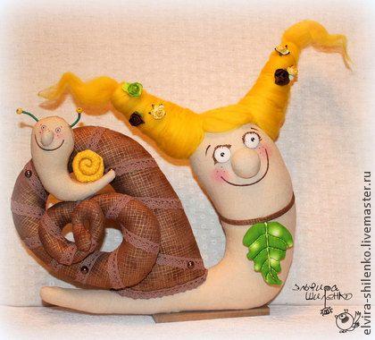 Мама Улитка - жёлтый,улитка,улитки,текстильная игрушка,лен,синтепух,акриловые краски