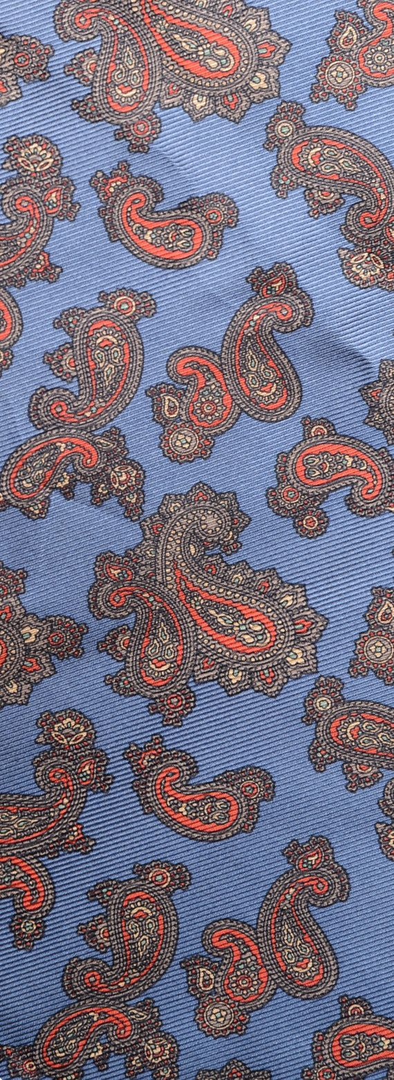 Cadet Blue and Red Paisley 100% Silk by EricaWaddellClothing