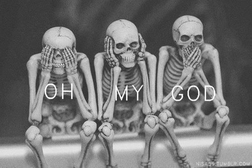 Three wise skeleton / Black and White Photography, Humor, Words