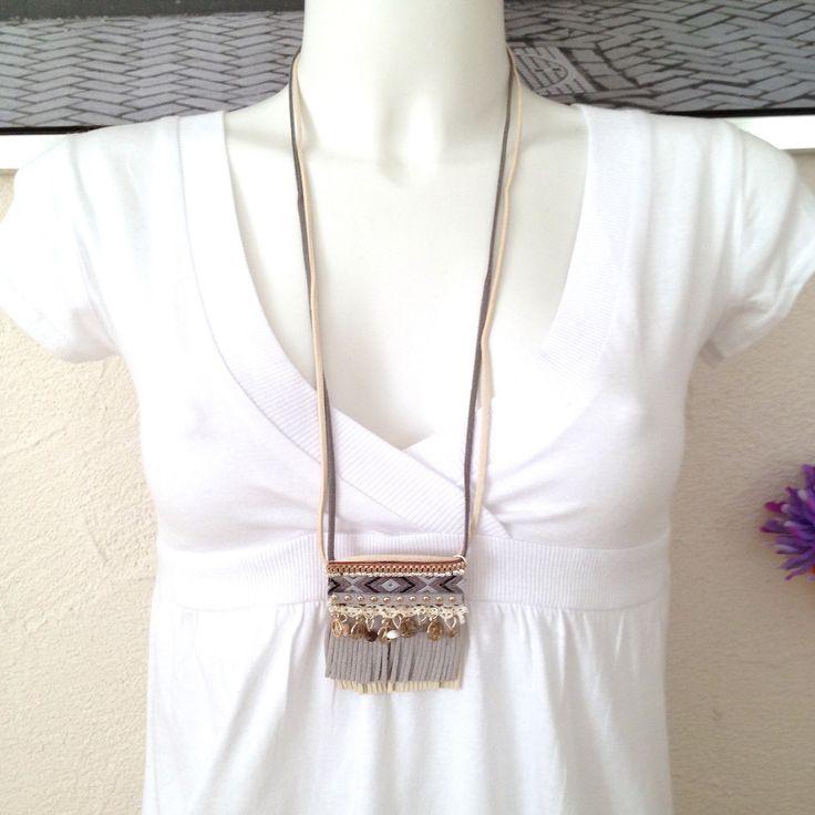Collier sautoir bohème grand pendentif boho ethnic chic peace gris : Collier par k-thys-creations-bijoux