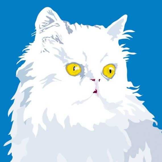 White Persian cat print by PopdesignItaly on Etsy - This white Persian cat is standing on top of the cupboard, throwing disdainful glances at her human companion playing with the family dog. She finds the scene quite distasteful. A bright and colorful cat portrait digitally printed from my original illustration. Art by Sebastiano Ranchetti