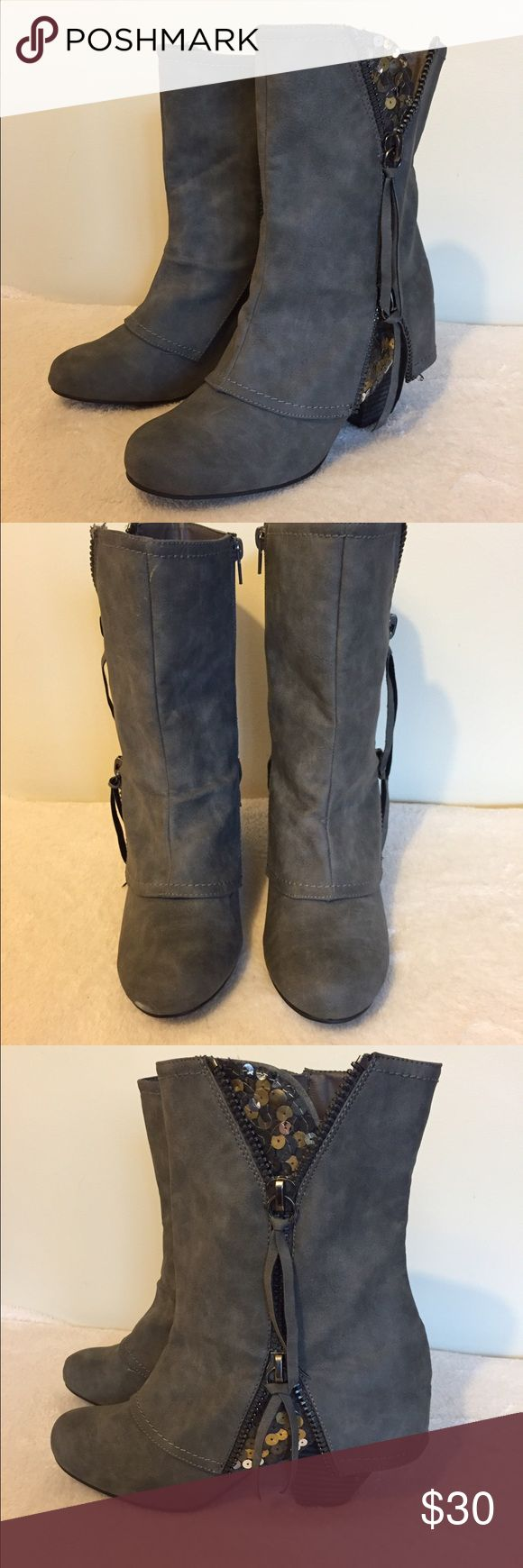 Grey Leather Boots with Gold Sequence Cute and Adorable Boots! Only worn once, small scuff on the front of the right boot Not Rated Shoes Heeled Boots