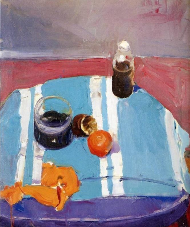 Richard Diebenkorn (American, Bay Area Figurative Movement, 1922–1993), Still Life with Orange Peel, 1955. Oil on canvas, 74.3 x 62.2 cm.