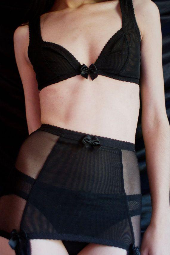 The Ingrid black mesh bra bralette by kayleighpeddie