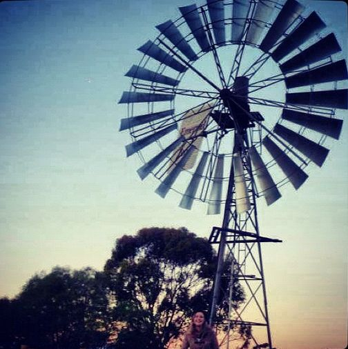 Windmill in Shepparton, Victoria. I'm just below, trying to get into the photo! Was freezing this day!
