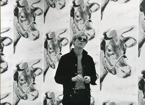 Andy Warhol with his Cow Wallpaper Exhibited at Leo Castelli, April 1, 1966