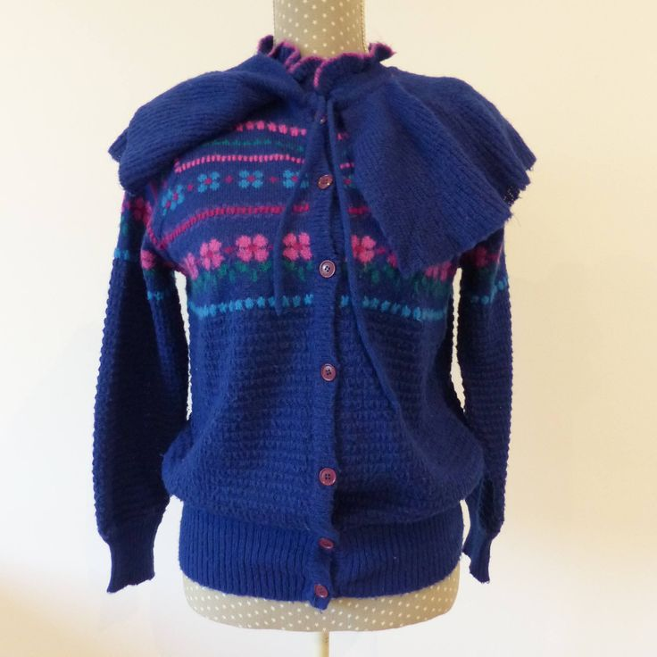 *** By MaletaVintageClothes on Etsy: Knit vintage jacket  80s clothing, Ugly sweater for lady, Feminine cardigan with a bow, Vintage Fashion country jacket, retro clothing.