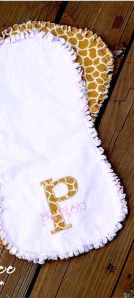 here's how to make easy burpcloths with frayed edges - simple but so cute!  makes a great baby gift - - Frayed BurpCloth ~ Sugar Bee Crafts