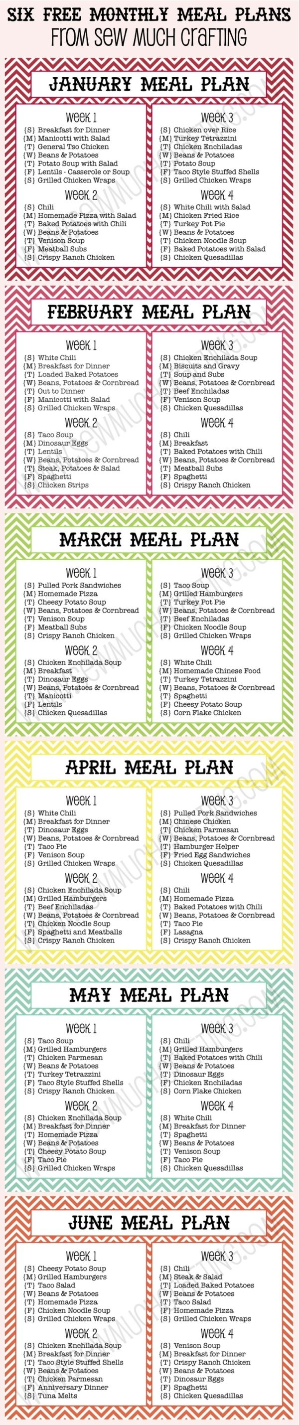 Six FREE Monthly Meal Plan Printables - a decent starting point to tweak for our gf family by fsdsfds