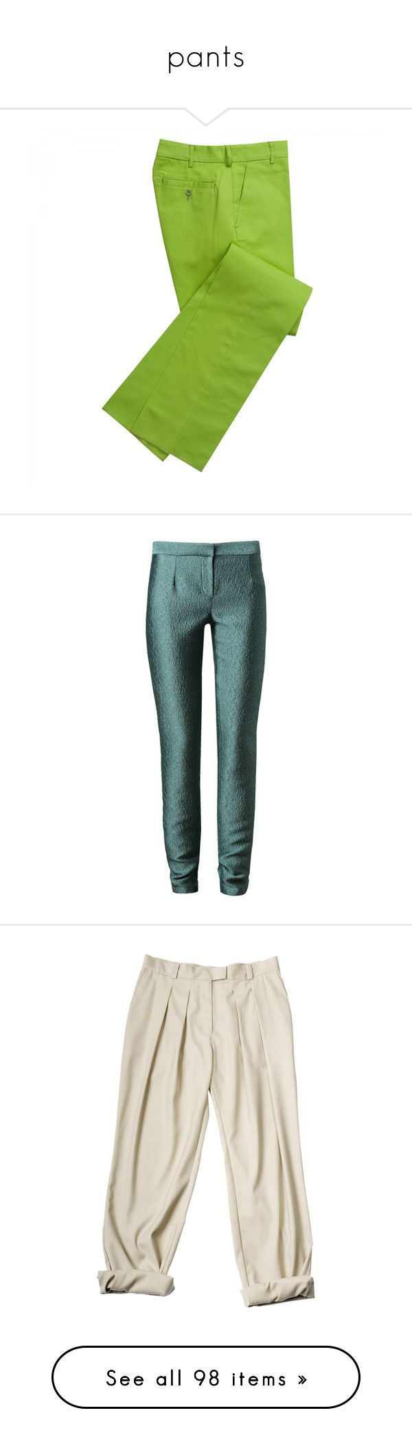 """""""pants"""" by kristina-bishkup ❤ liked on Polyvore featuring pants, lime green, chino pants, bright pants, green pants, green trousers, corduroy trousers, trousers, chalayan and zipper trousers"""