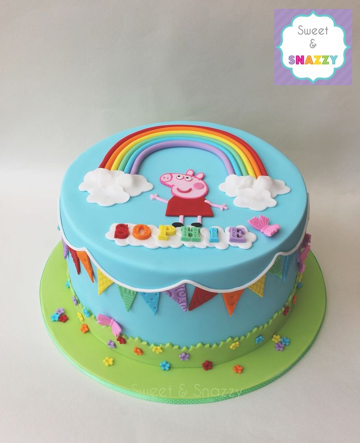 Peppa Pig Cake - Peppa Pig Rainbow Cake with rainbow bunting by Sweet & Snazzy https://www.facebook.com/sweetandsnazzy