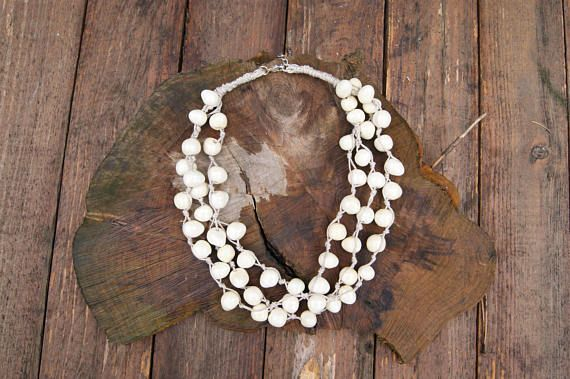 Pearl ceramic necklace, Handmade beads, Pearl beads, pearl necklaces, linen necklace, necklace on the beach