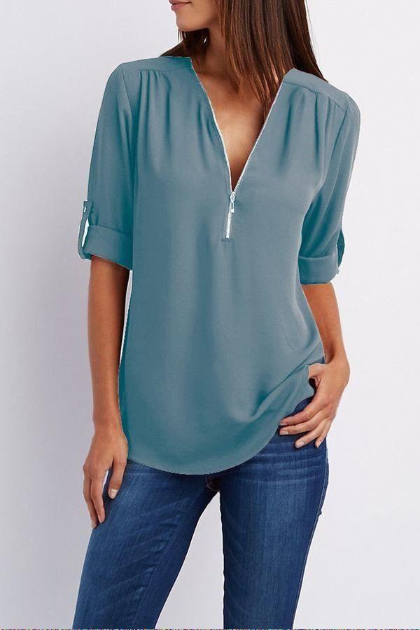 Hot Women V-NECK Chiffon Long Sleeve Shirt Casual Blouse Loose Tops PLUS Tee