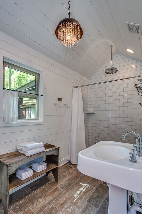 NEST: A Pretty Little Cabin Rental in Franklin, Tennessee. Love this bathroom with shiplap and subway tile.