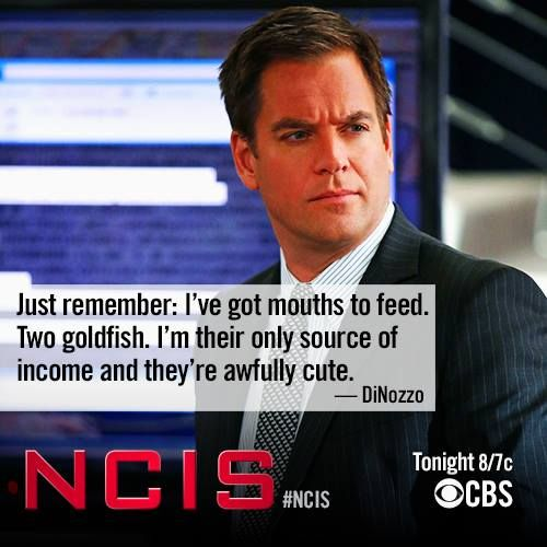 """Just remember, I've got mouths to feed. Two goldfish."" Oh, Tony... If he named the other Ziva, I'll lose it. NCIS"
