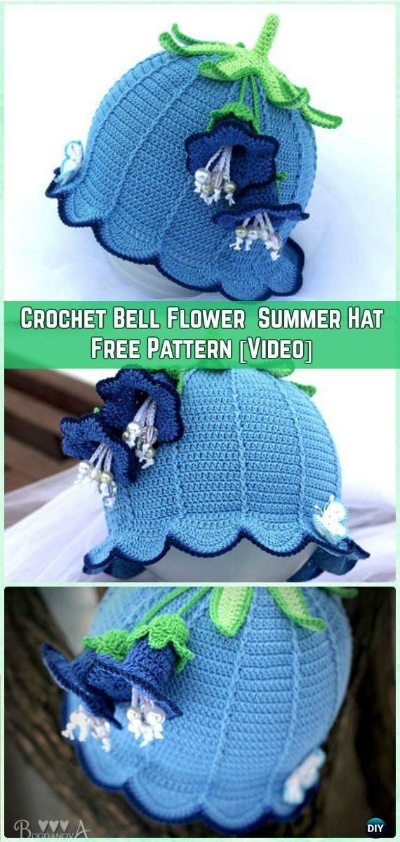 Sombrero del verano del bebé del ganchillo la flor de Bell sombrero de Sun del patrón libre [Video] - Crochet Patrones de chicas Sombrero de sol gratis