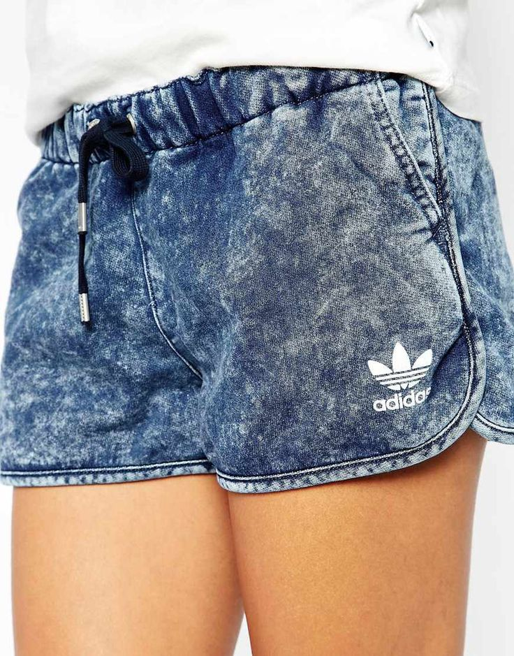 Image 3 of adidas Originals Denim Look Shorts // sporty chic