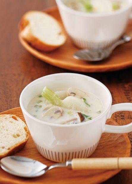 かぶときのこの豆乳スープ (レシピNo.1985) ネスレ バランスレシピ