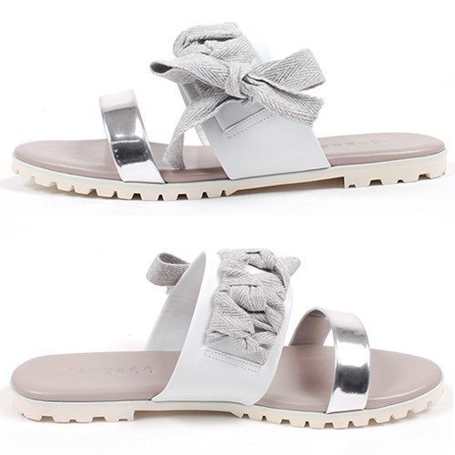 NEW Korea Womens Ribbon Fasfiin Sandals&Handmade Ladies leather shoes C-Silver #BomNaviHandmade #fasfiinslippers