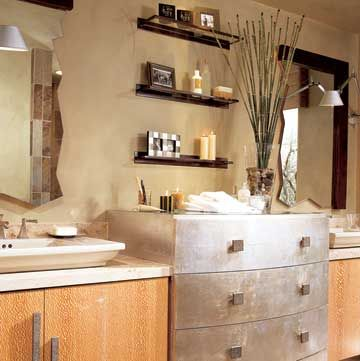 Wow!  Now that's a bathroom!  Great mirrors, and I love the dresser!