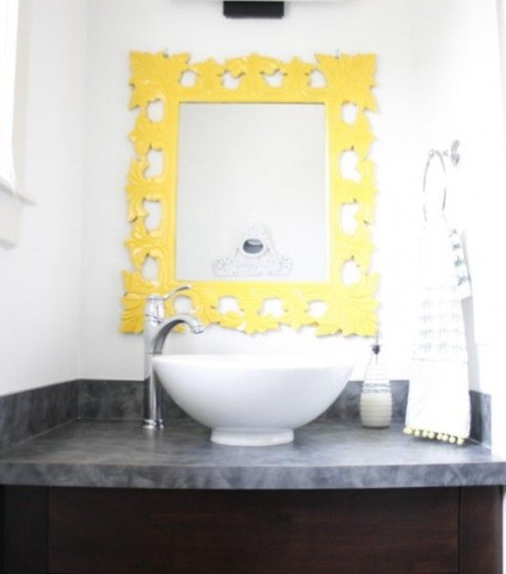 Yellow Bathroom Interior, Cottage Style Yellow