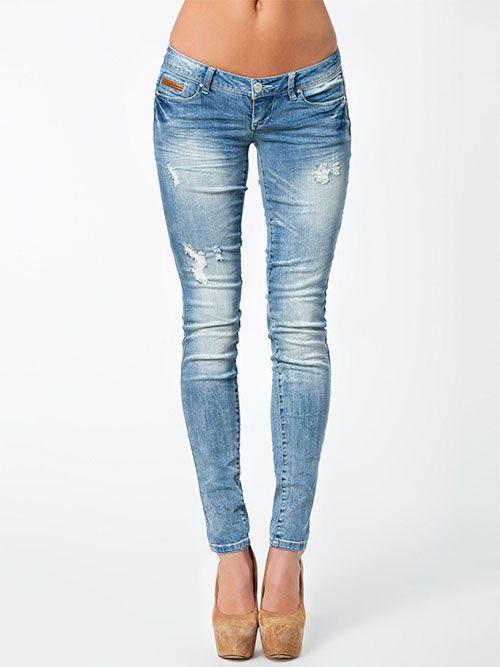 Denim blå Coral Superlow Skinny Only jeans - ModeJagten
