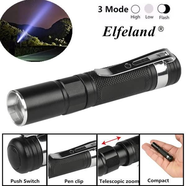 Elfeland Waterproof Zoomable Torch Lamp Pocket Light Mini LED Flashlight AAA  Worldwide delivery. Original best quality product for 70% of it's real price. Buying this product is extra profitable, because we have good production source. 1 day products dispatch from warehouse. Fast &...