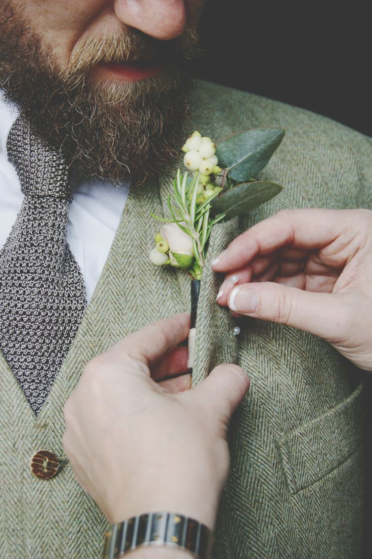 The groom :)  #buttonhole #weddingflowers #colourinspiration #roses #stock #snowberry #eucalyptus #rosemary www.devinebride.co.uk