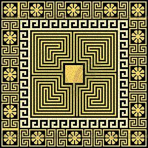 Традиционные старинные золотые греческий орнамент (меандр) - векторный клипарт / векторное изображение