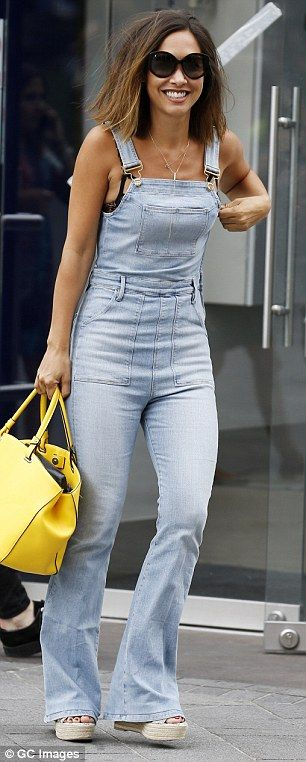 Myleene Klass reveals black bra under denim jumpsuit after Smooth Radio show | Daily Mail Online