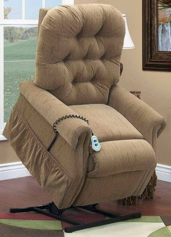 Med Lift Three Way Reclining 44 Tall Power Lift Chair With Matching Arm And Headrest Covers Bromley Havana Fabric 2553t Bh F Lift Chairs Recliner Chair