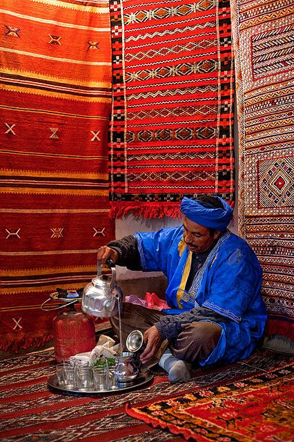 beautiful-earth:    Morocco - Atlas Mountains: Berber Tea by John & Tina Reid on Flickr.  Via Flickr: A Berber carpet maker prepares a pot of tradional tea in a Moroccan village in the Mid Atlas Mountains . .