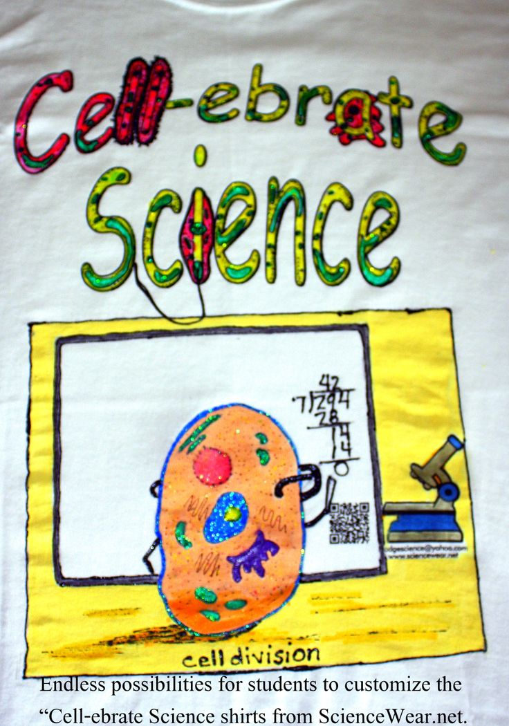 "End of year is a tough time to keep students engaged. Have students ""Cell-ebrate Science"" by finding a simple science cartoon to draw or trace on the Cell-ebrate Science shirt from Sciencewear.net ($5).  Paint with fabric markers or fabric paint.  GREAt way to end the year.  ALL AGES love this project and there are thousands of one frame science cartoons in google images"