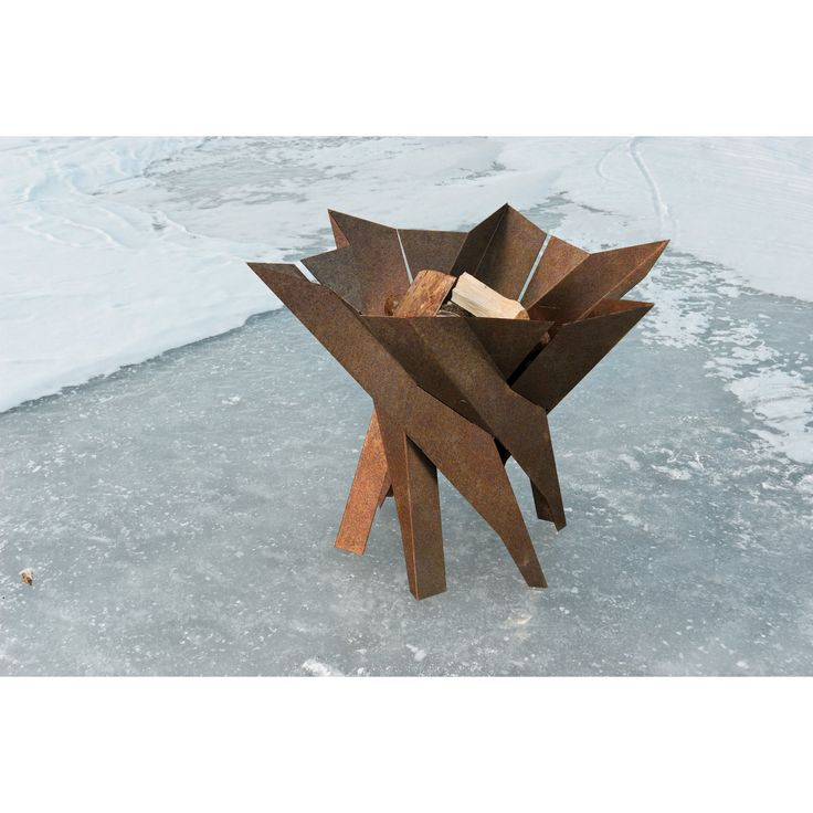 Phoenix Blossom Solid Rusting/Stainless Steel Wood Burning Fire Pit